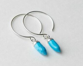 Blue Turquoise Sterling Silver Hoop Earrings