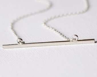 Modern Skinny Silver Bar Necklace