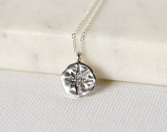 Sparkly Sterling Silver North Star Necklace