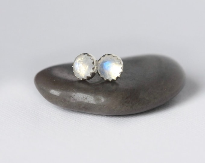 Featured listing image: Sterling Silver Faceted Rainbow Moonstone Stud Earrings