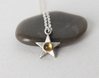 Silver Gemstone Celestial Star Necklace