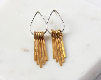 Mixed Metal Chandelier Statement Earrings