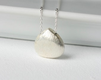 Everyday Sterling Silver Brushed Teardrop Necklace