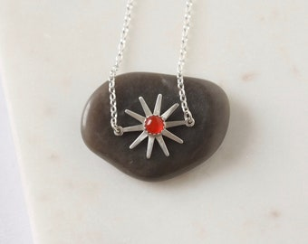 Sterling Silver Gemstone Flower Necklace
