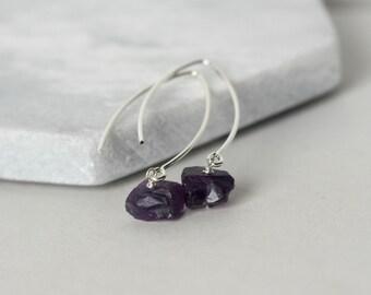 Amethyst Nugget Raw Stone Earrings