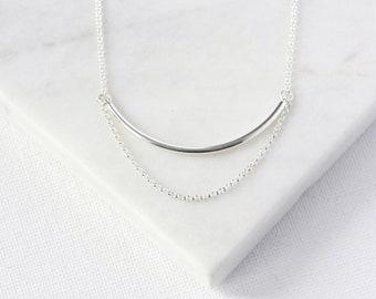 Modern Sterling Silver Bar Necklace