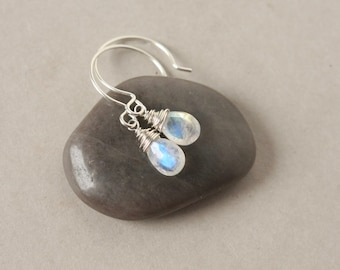 Faceted Silver Rainbow Moonstone Briolette Earrings