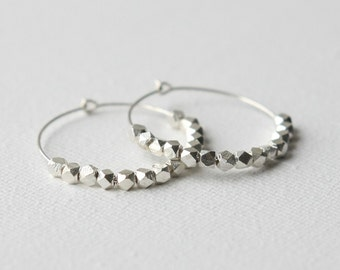 Everyday Faceted Sterling Silver Hoop Earrings