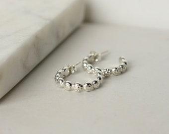 Small Sterling Silver Flower Hoop Earrings