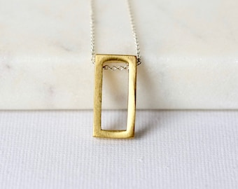 Modern Brass Geometric Necklace