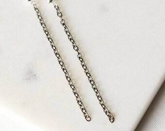 Long Chain Earrings, Oxidized Silver Earrings, Mixed Metal Jewelry, Sterling Silver Earrings, Minimal Earrings, Minimal Jewellery
