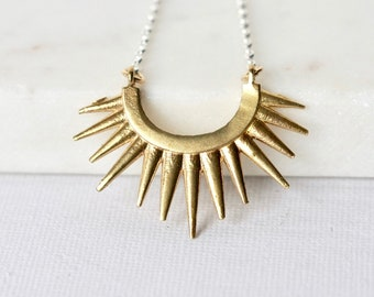 Mixed Metal Brass Sunburst Celestial Necklace