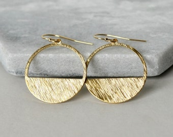 Shiny Round Brass Geometric Earrings