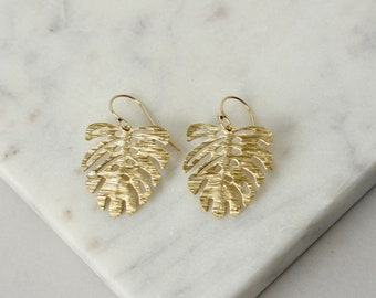 Shiny Brass Monstera Leaf Earrings