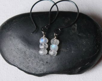Faceted Rainbow Moonstone Earrings, Oxidized Silver Earrings, June Birthstone Jewellery, Faceted Gemstone Earrings, Gift for Women
