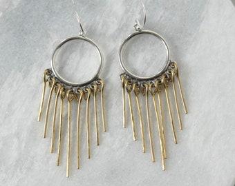 Brass Fringe Statement Earrings