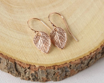 Rose Gold Leaf Earrings, Rose Gold Jewellery, Minimalist Earrings, Nature Inspired Jewelry, Small Dangle Earrings, Gift for Women