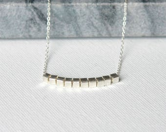 Minimalist Geometric Sterling Silver Layering Necklace