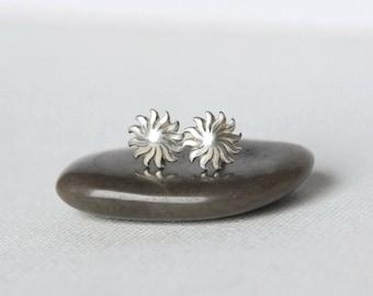 Sterling Silver Sun Stud Earrings