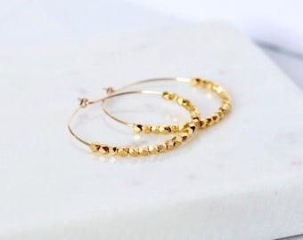 Faceted Gold Nugget Hoop Earrings