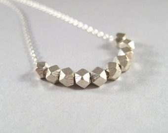 Minimalist Sterling Silver Faceted Necklace