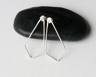 Big Sterling Silver Kite-Shaped Stud Earrings