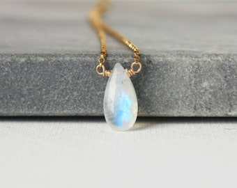 Gold Rainbow Moonstone Briolette Necklace