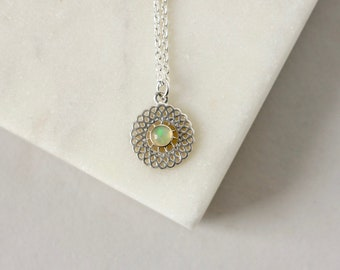 Sterling Silver Opal Filigree Necklace