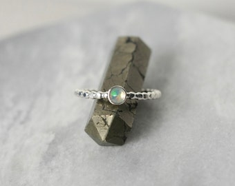 Faceted Sterling Silver Opal Ring