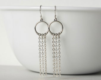 Silver Chandelier Chain Earrings