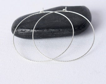 Thin Sterling Silver Hoop Earrings