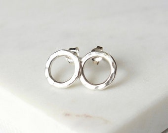 Hammered Sterling Silver Round Stud Earrings
