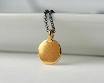 Mixed Metal Geometric Gold Circle Necklace