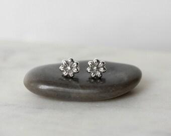 Sterling Silver Flower Stud Earrings