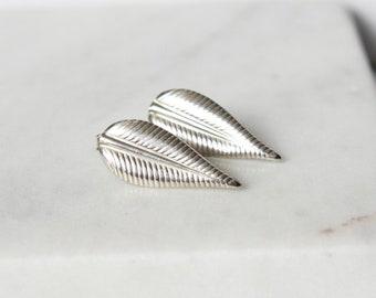 Sterling Silver Leaf Earrings, Nature Jewelry, Delicate Earrings, Big Stud Earrings, Woodland Jewelry, Post Earrings, Gift Nature Lover