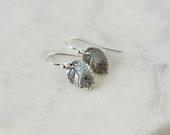 Sterling Silver Small Leaf Dangle Earrings