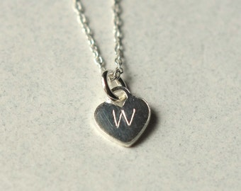 Womens Personalized Initial Necklace, Custom Monogram Heart, Silver Initial, Personalized Jewelry, Hand Stamped, Gift for Mom, Gift for her
