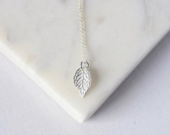 Small Sterling Silver Layering Leaf Necklace