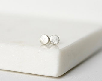 Minimalist Everyday Sterling Silver Round Stud Earrings