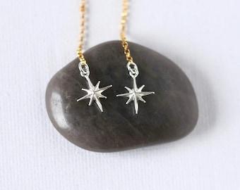 Long Silver North Star Earrings, Mixed Metal Celestial Jewelry, Linear Gold Chain Earrings, Dainty Minimalist Earrings, Jewelry Gift