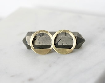 Half Moon Brass Stud Earrings