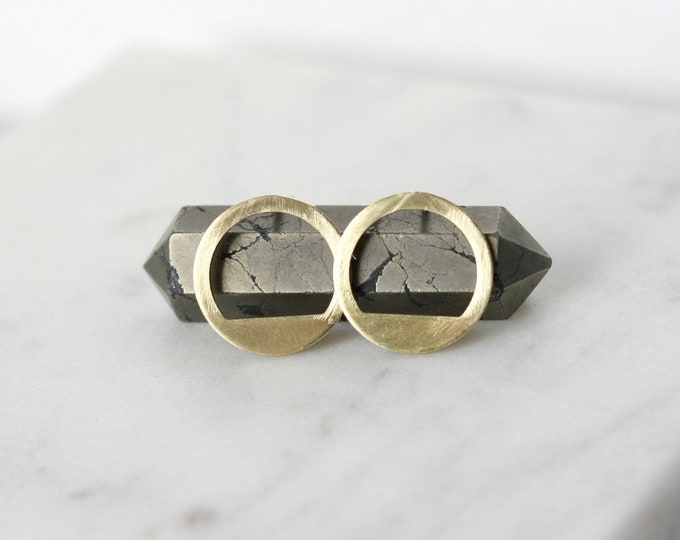 Featured listing image: Half Moon Brass Stud Earrings