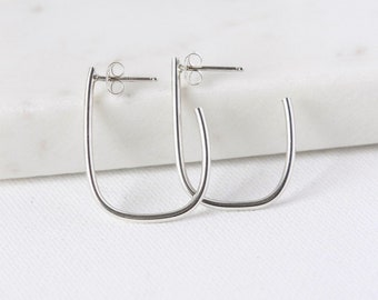Minimalist Sterling Silver Oval Hoop Earrings