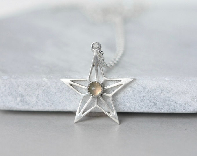 Featured listing image: Sterling Silver Labradorite Star Necklace