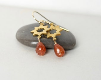Faceted Sunstone and Brass Star Earrings