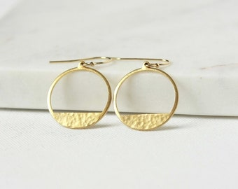 Hammered Brass Modern Geometric Earrings