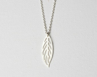 Sterling Silver Long Leaf Necklace, Everyday Minimalist Layering Necklace, Brushed Leaf Pendant, Nature Inspired Jewellery, Gift for Women