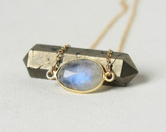 Gold Faceted Rainbow Moonstone Necklace