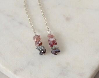 Ombre Gemstone Long Dangle Earrings