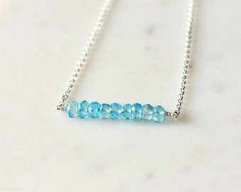 Sterling Silver Faceted Swiss Blue Topaz Necklace